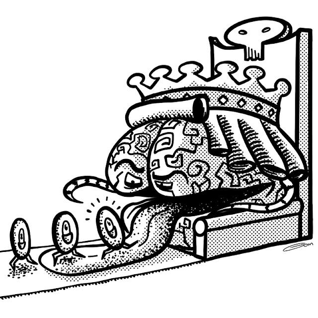 Le roi cerveau sur son trône mange des globules