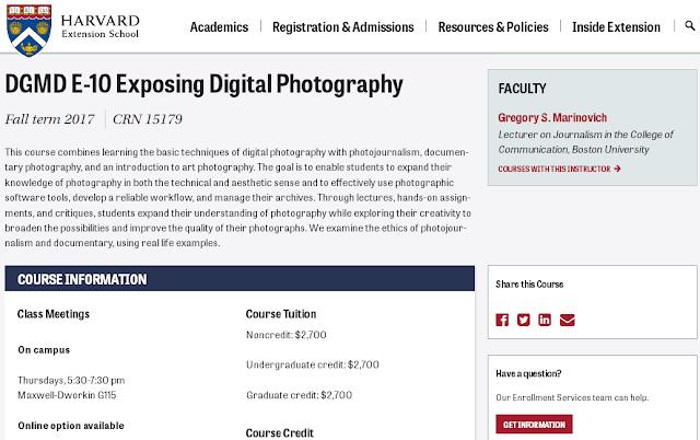 Exposing Digital Photography, Salah satu kursus yang ditawarkan di Harvard Extension School