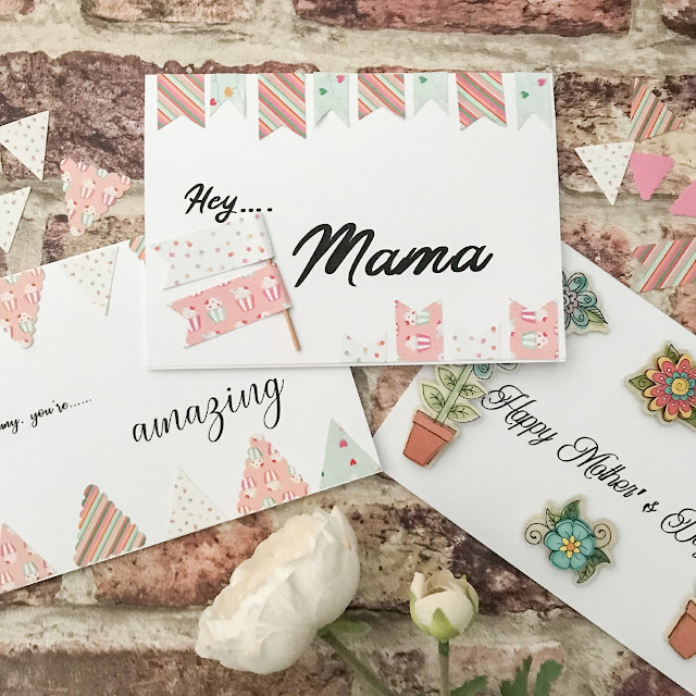 Flatlay showing handmade Mother's Day cards