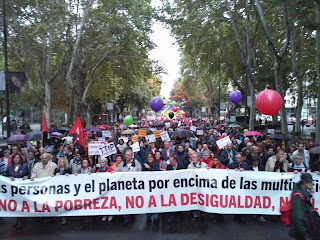 Manifestación en Madrid contra el TTIP, la pobreza y la exclusión social.