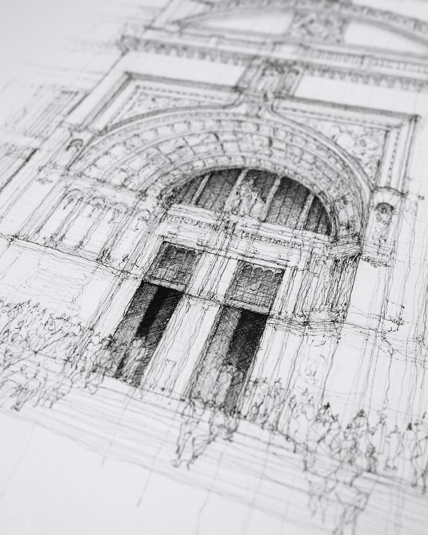 06-The-Victoria-and-Albert-Museum-London-Luke-Adam-Hawker-Architectural-Illustration-of-Imposing-Buildings-www-designstack-co