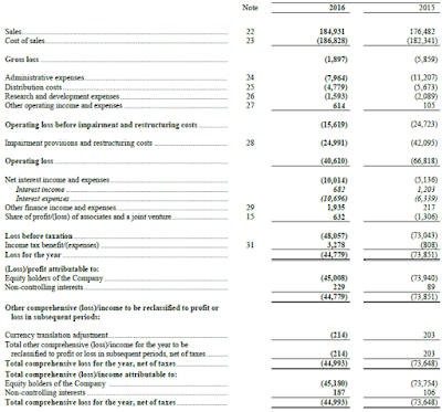 Financial statement for Avtovaz 2016