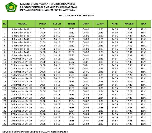 jadwal imsak waktu buka puasa kabupaten Rembang 2020 m ramadhan 1441 h tomatalikuang.com