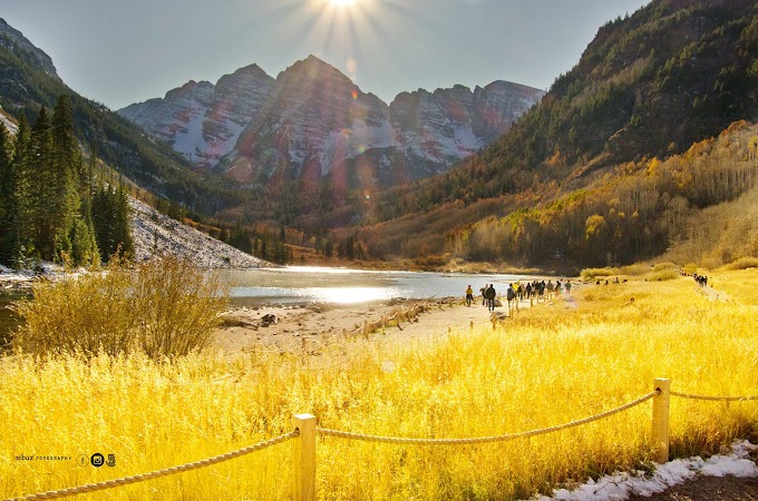 Evening sun in Maroon Bells, Colorado during fall season!