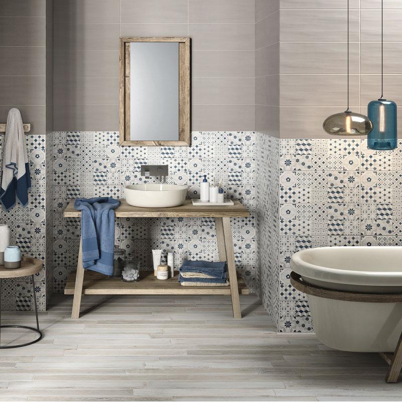 Nuove piastrelle per cambiare look al bagno blog di for Stencil per piastrelle bagno