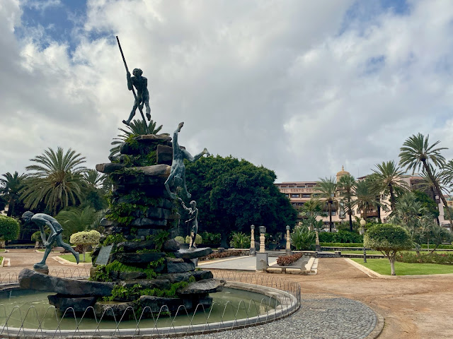 Statue at the entrance to Hotel Santa Catalina, Las Palmas, Gran Canaria, Spain