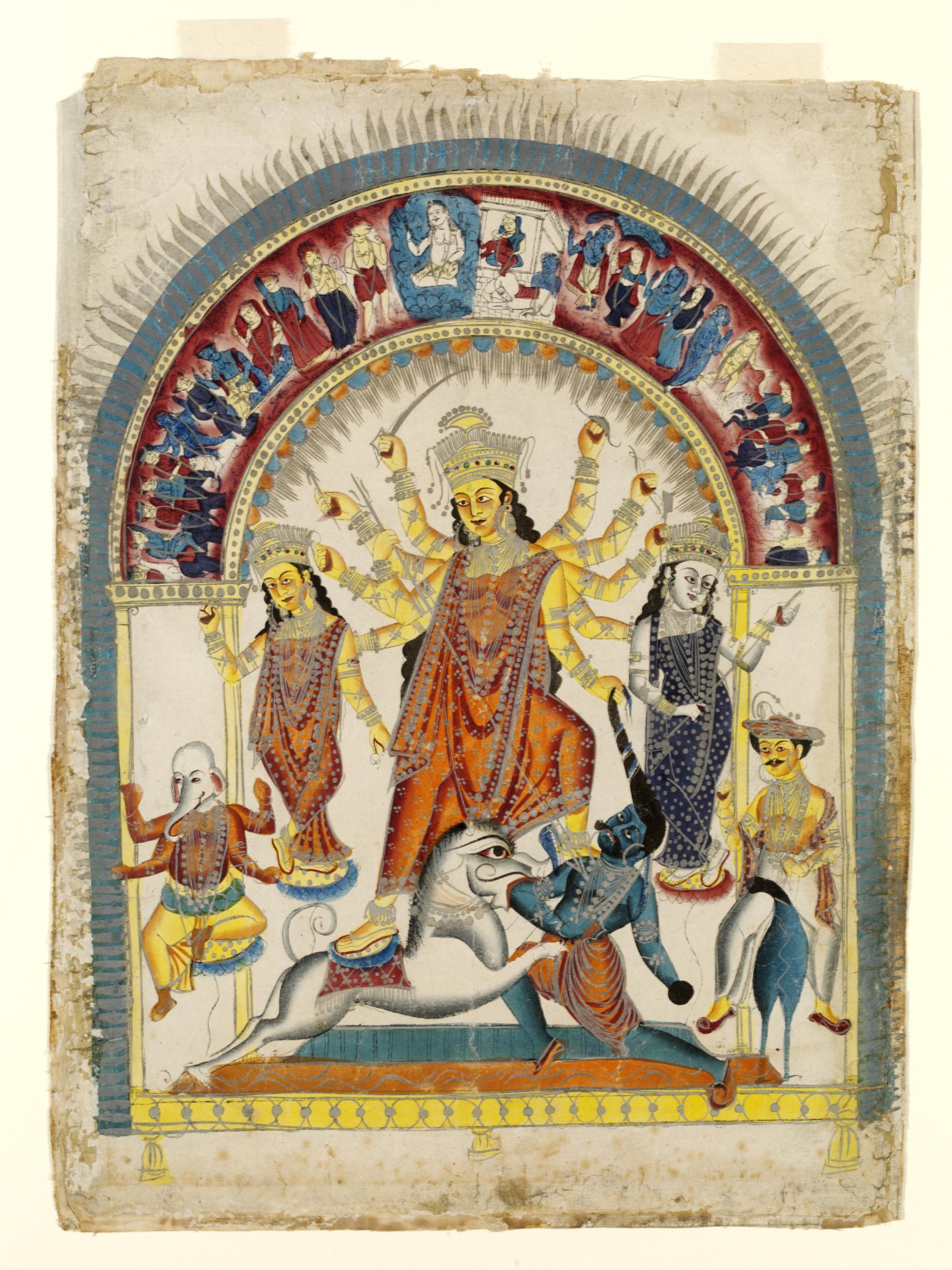Durga and Mahishasura - Kalighat Pata, Calcutta (Kolkata) c1860