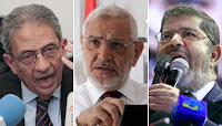 Amr Moussa, Abdel Moneim Aboul Fotouh, and Mohamed Morsi
