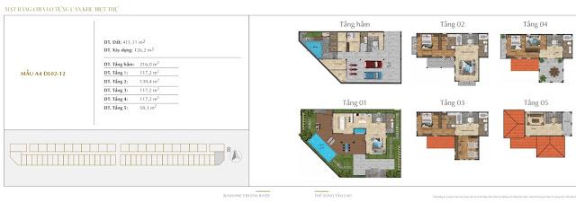 Bảng giá thiết kế biệt thự dự án Sunshine Crystal River Ciputra Tây Hồ Hà Nội