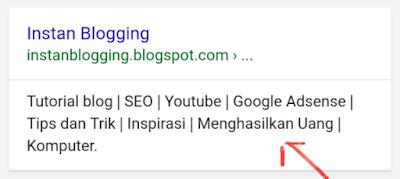 Cara Memasang  Meta Deskripsi di Blogger Mudah Tanpa Ribet
