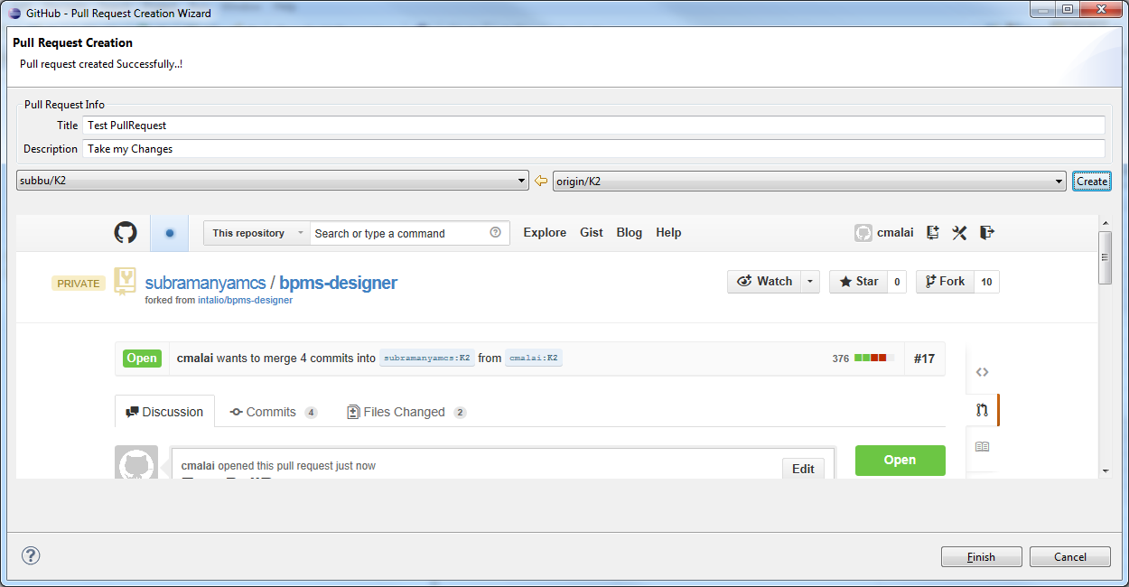 Eclipse PullRequest Plugin -> Working with GitHub Mylyn