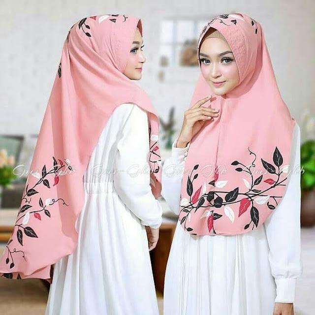 Jilbab Instan Syari Motif Ranting Daun Cantik