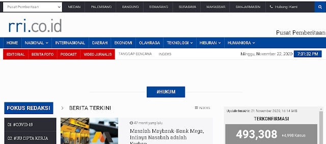 Website RRI, Portal Berita Online Terpercaya