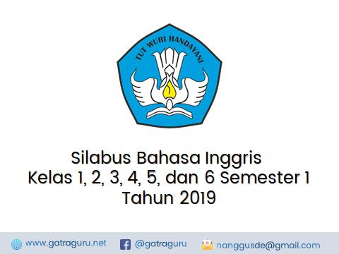 Silabus Bahasa Inggris Kelas 1, 2, 3, 4, 5, dan 6 SD Semester 1 Tahun 2019