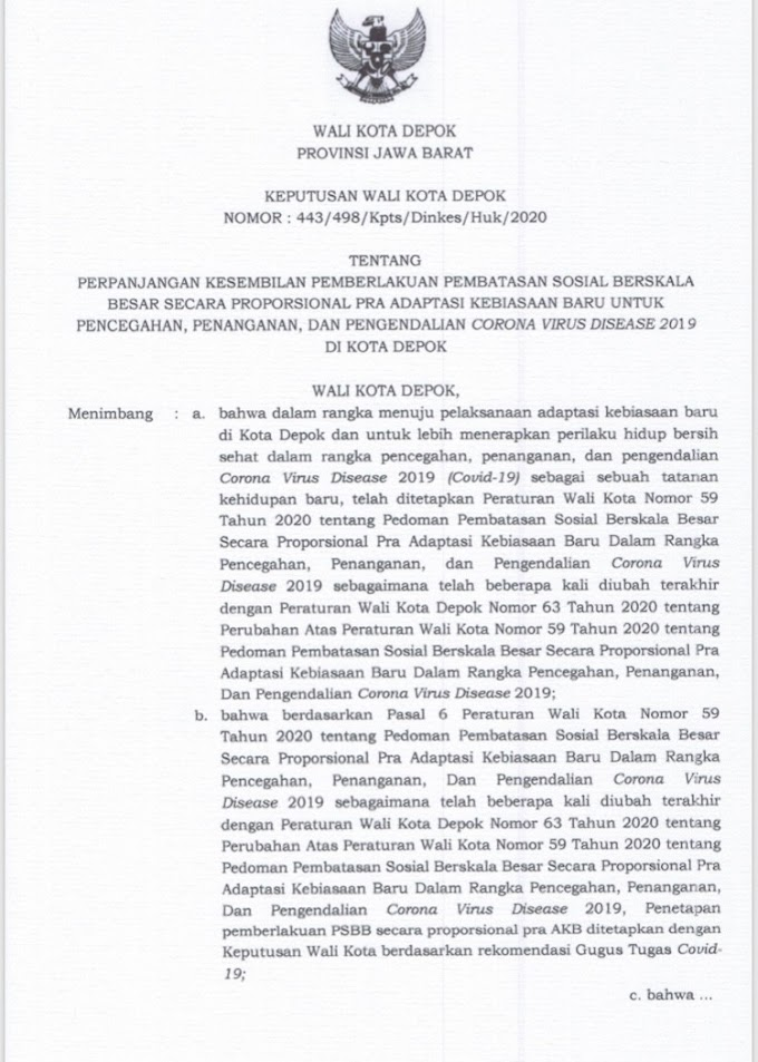 Cegah Covid-19, Pemkot Depok Perpanjang PSBB Proporsional Pra AKB