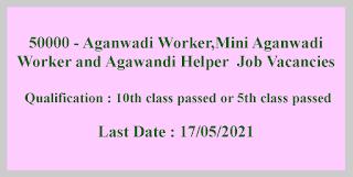 50000 - Aganwadi Worker,Mini Aganwadi Worker and Agawandi Helper  Job Vacancies