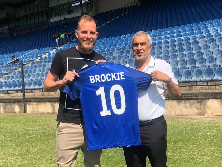 New Maritzburg signing Jeremy Brockie with chairman Mr. Farook Kadodia