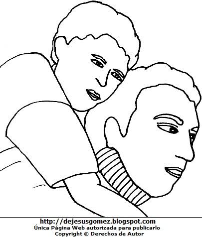 Dibujo de papá cargando a su hijo para colorear, pintar o imprimir  (Papá cargando a su hijo en la espalda). Dibujo de un papá con su hijo hecho por Jesus Gómez