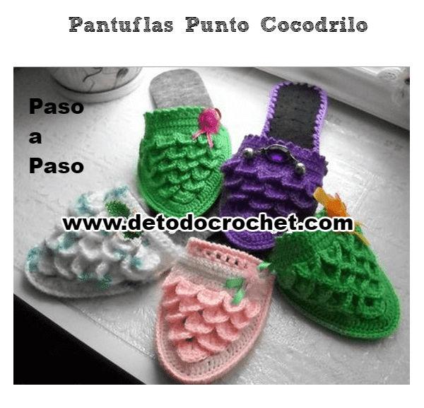 Pantuflas punto cocodrilo paso a paso todo crochet - Como empezar a hacer punto paso a paso ...