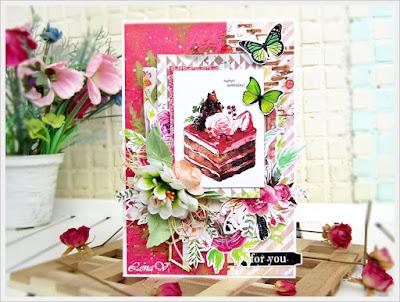 открытка, скрапбукинг, lena-card, открытка на день рождения, подарок