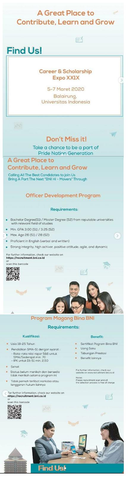 Rekrutmen ODP dan Bina BNI PT Bank Negara Indonesia (Persero) Via UI Career and Scholarship Expo