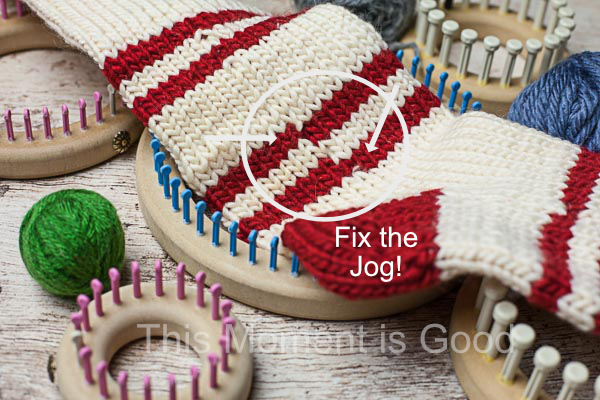 Knitting In The Round Changing Colors : How to fix the jog for loom knitters knitting by