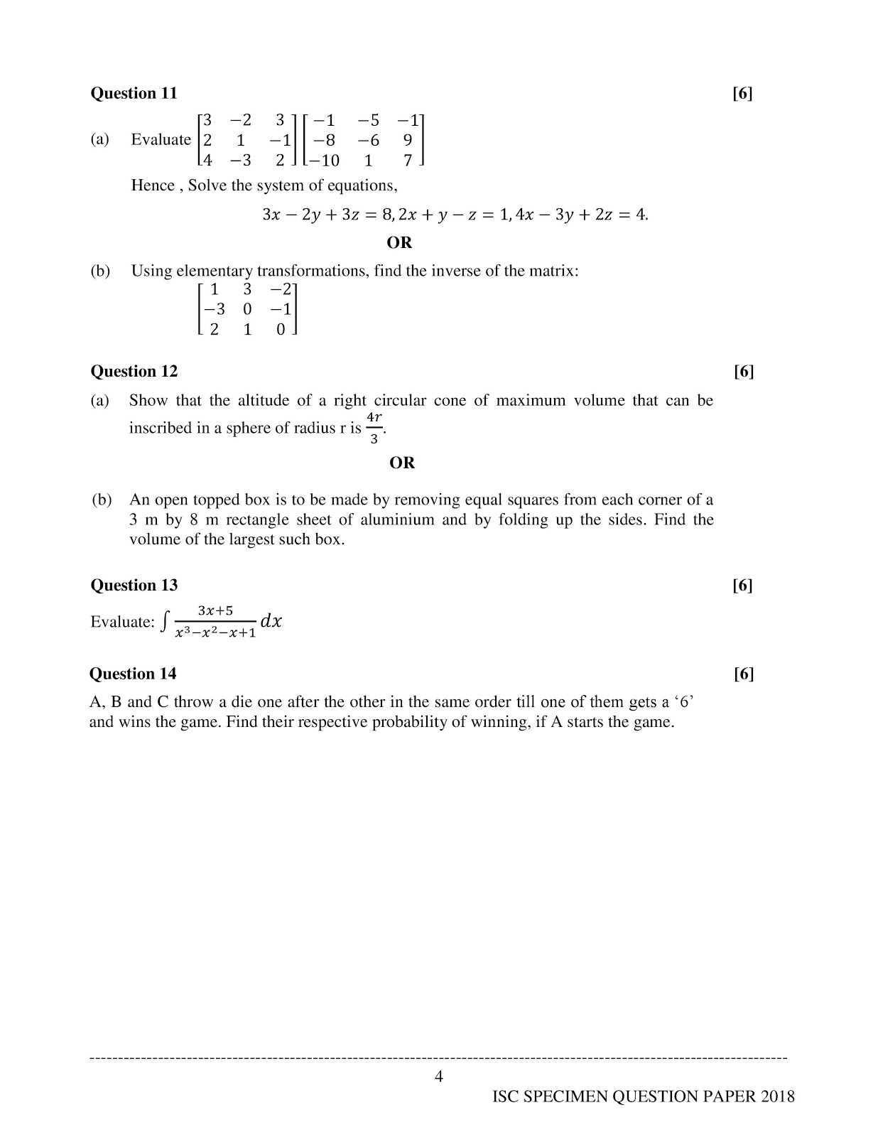 isc 2018 class 12th Mathematics Sample paper
