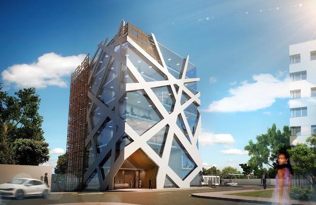 Perspective 3D de jour du bâtiment de bureaux