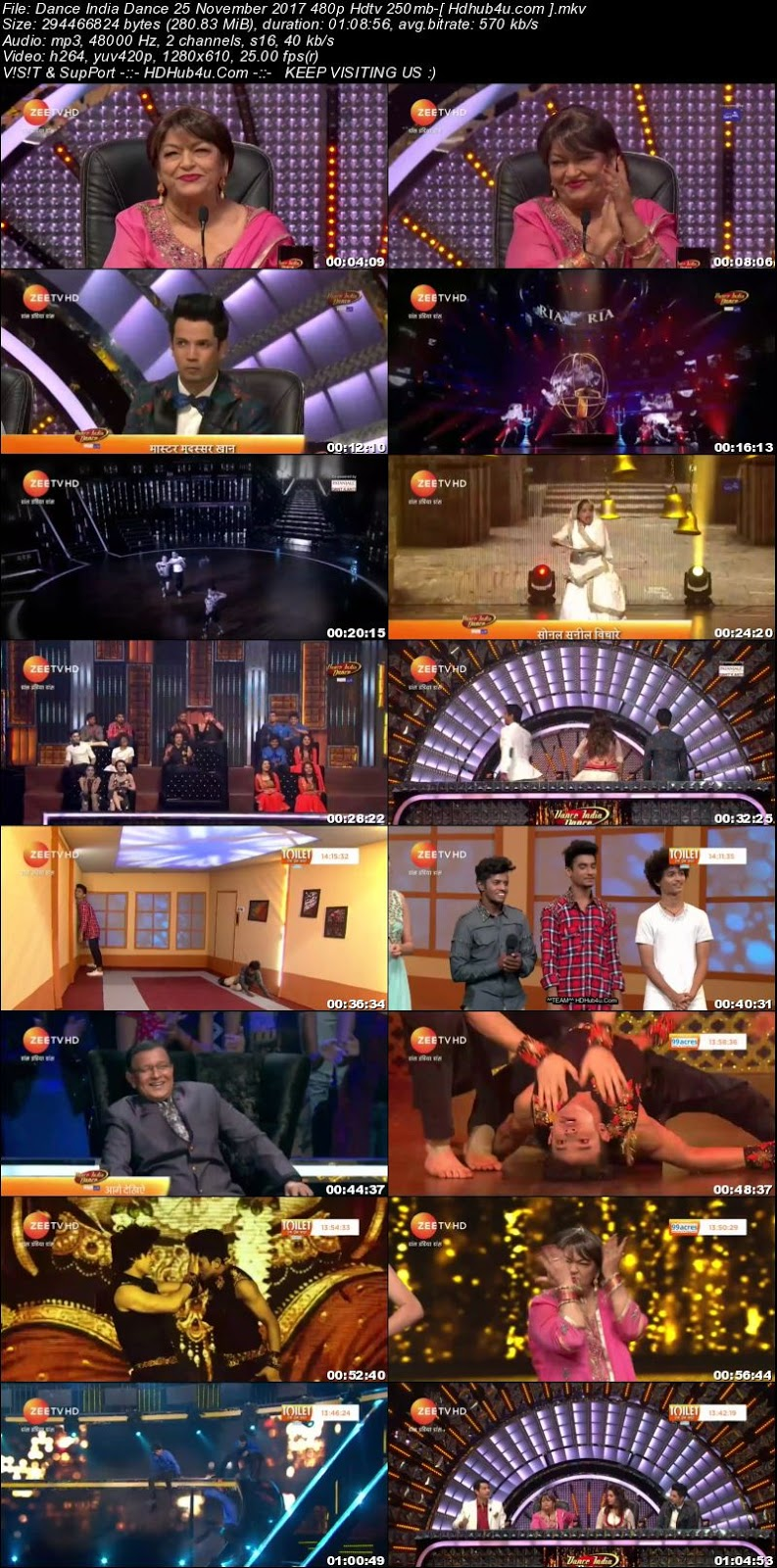 Dance India Dance 25 November 2017 480p HDTV 250MB Download