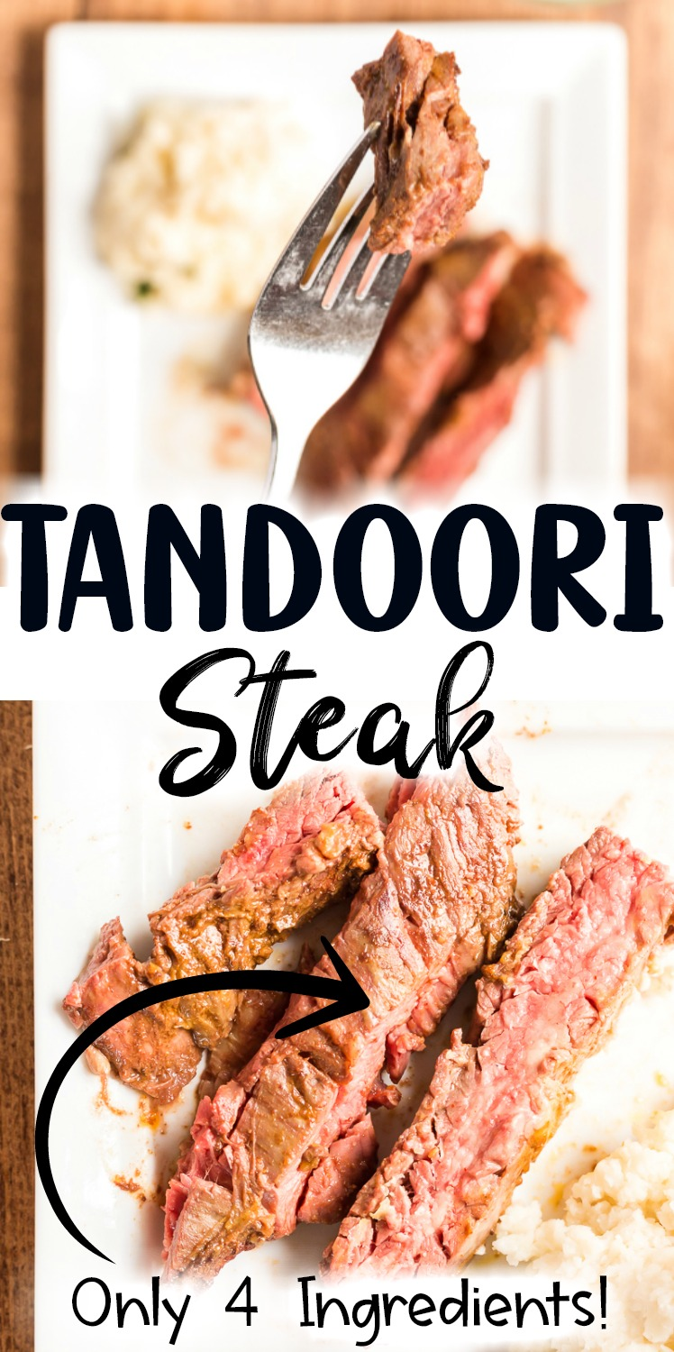 This Grilled Tandoori Steak is an easy to prepare low carb dish the whole family will love. Skirt (or flank) steak in an Indian inspired tandoori marinade and grilled to perfection. #lowcarb #keto #beef #steak #Grilled #tandoori #indian #easy #recipe