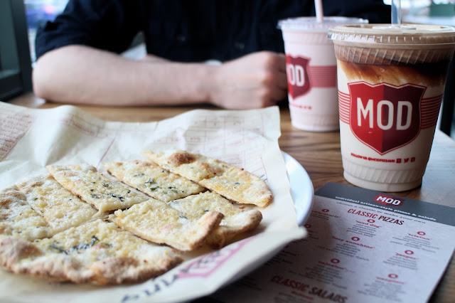 Garlic strips and a milkshake at MOD Pizza Leeds