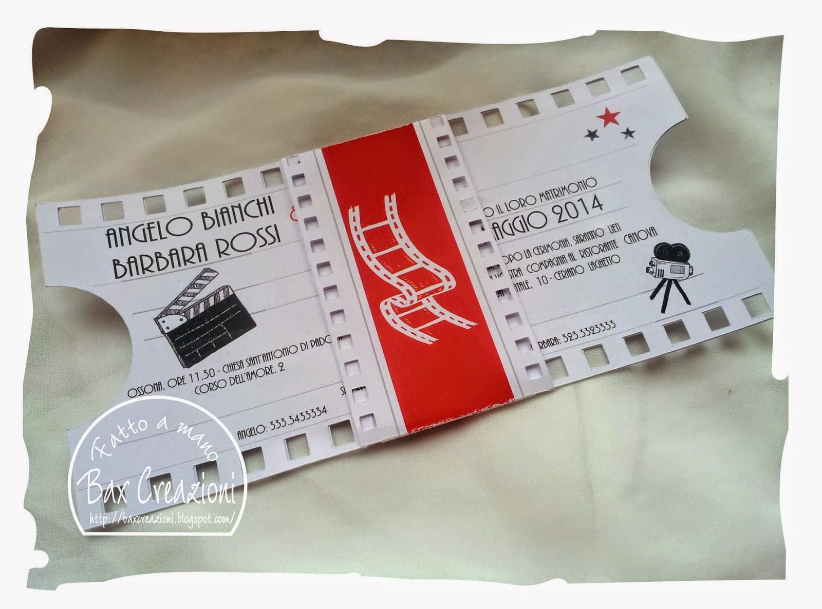 Partecipazioni Matrimonio Tema Cinema.Bax Creazioni Partecipazione E Mappa A Tema Cinema