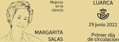 filatelia, matasellos,  Margarita Salas, Luarca,