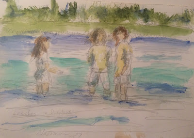 Larry Newman, 1987 watercolor of kids at Lily Lake