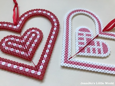 Hama bead spinning heart decorations