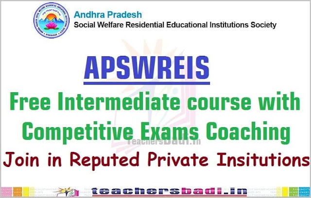 APSWREIS,Free Inter with Competitive Exams Coaching,notification 2017