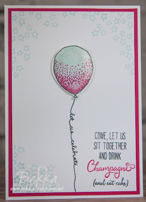 Let's Get Together and Drink Champagne and Eat Cake - An invitation to celebrate made with Stampin' Up! UK products
