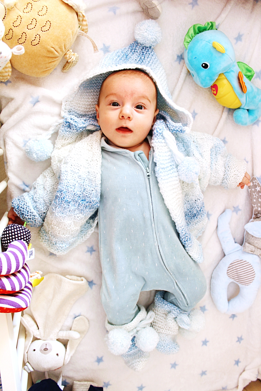baby knitwear, baby boy white blue knitwear, handmade knitwear for babies