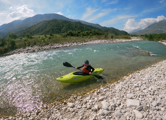 Marcel paddling on Drinos River, Albania