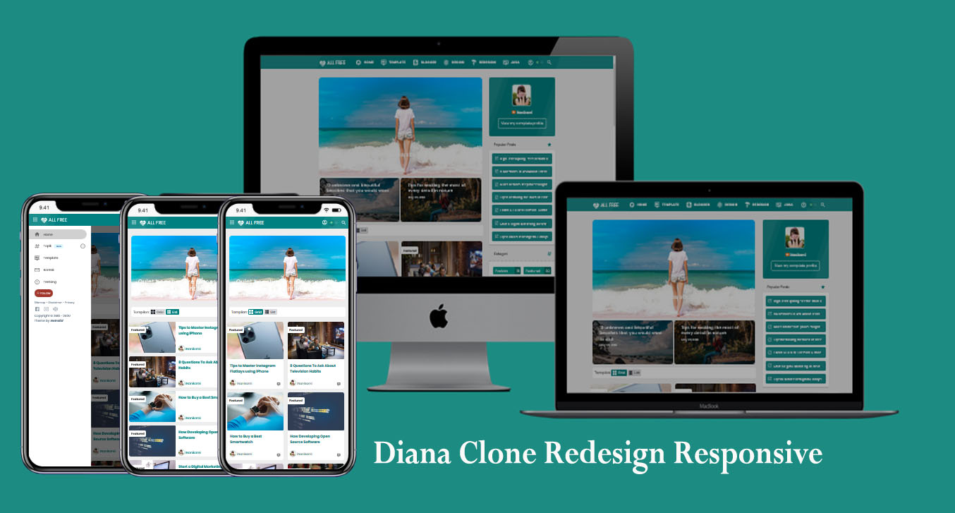 Diana Clone Redesign Responsive Blogger Template