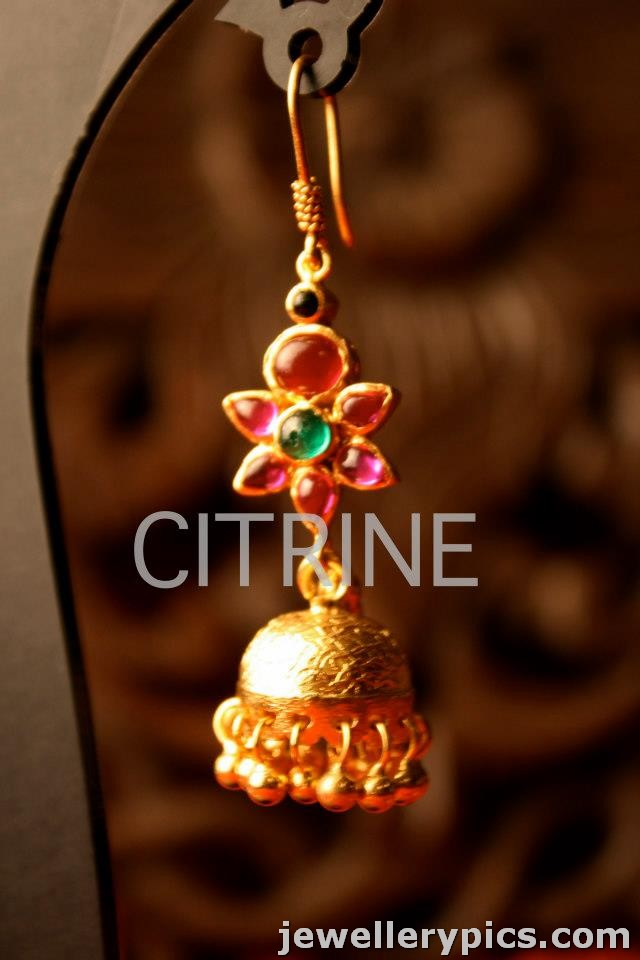 Gold Designer Jhumka Buttalu With Pearls Rubies Emaralds