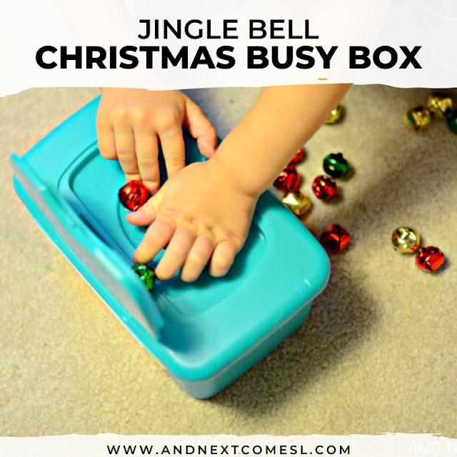 Preschool jingle bell activity and fine motor task box