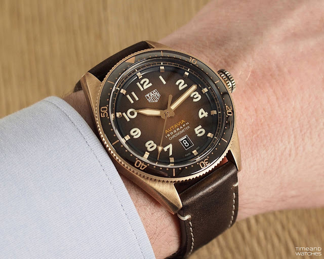 Wrist shot of the TAG Heuer Autavia Bronze WBE5191.FC8276
