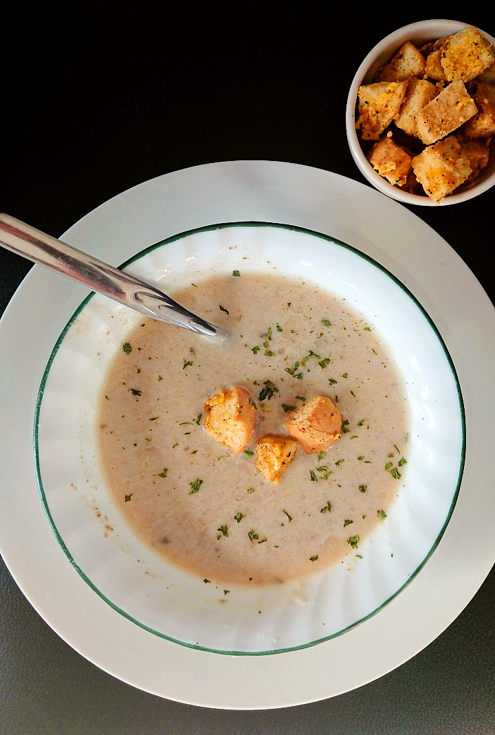 allergy friendly cream of chicken soup in a bowl with gluten free croutons