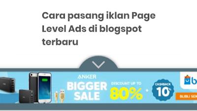 Cara Pasang Iklan Page Level Ads Atau Iklan Otomatis Di Google Adsense