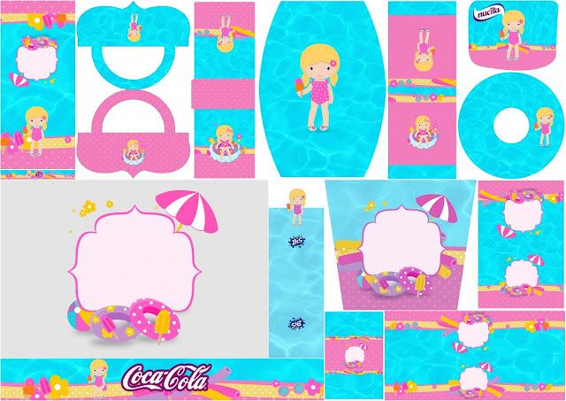 Fiesta en la Piscina para Niña Rubia: Etiquetas para Candy Bar para Imprimir Gratis.