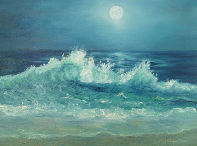 Beach painting with a  crashing waving and a moon