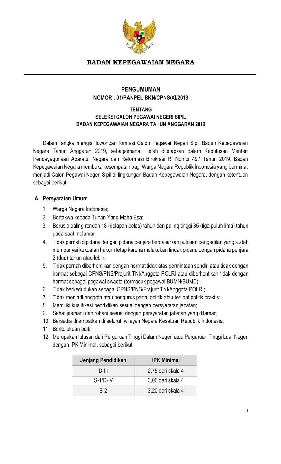 Penerimaan CPNS Badan Kepegawaian Negara Tahun Anggaran 2019 [180 Formasi]