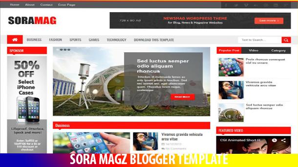Sora Mag Template Premium Responsive Original - Responsive Blogger Template