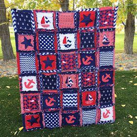 Toddler Bed Bedding Rag Quilt Anchor Nautical Blanket sailboats and stars